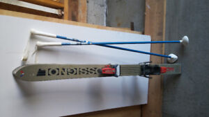 Rossignol downhill skis and poles for child