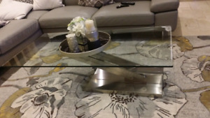 Glass top coffe table with Stainless Steal stand