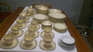 Large set (over 80) antique Myott China - hand-painted gold