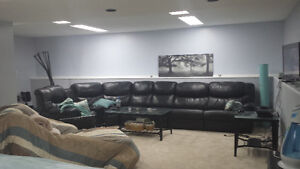 PALLISER BLACK LEATHER SECTIONAL