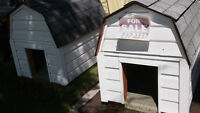 LAST TWO UNIQUE DESIGN DOGHOUSES  PENSIONER IS HANGING UP HAMMER