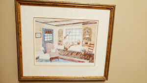 Vintage Helen Downing Hunter Signed framed retro  prints