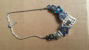necklace silver with shades of blue