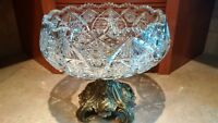 Gorgeous antique crystal compote bowl with brass pedestal stand
