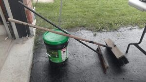 Driveway sealer and brushes