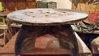 Rustic Wooden Spool Coffee Table