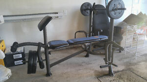 Small Workout Bench +  Weights 100$