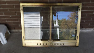 Fireplace Gold Glass Doors - Very Good Quality - Great Condition Cambridge Kitchener Area image 1