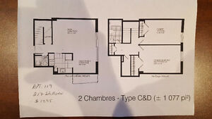 2 Bedroom + mezzanine 4 1/2 for rent South West One