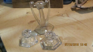 Sturdy Lovely 3-Piece Vintage Set Cut Glass Candlesticks