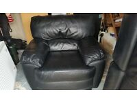Black Leather Sofa Two Seater and Armchair