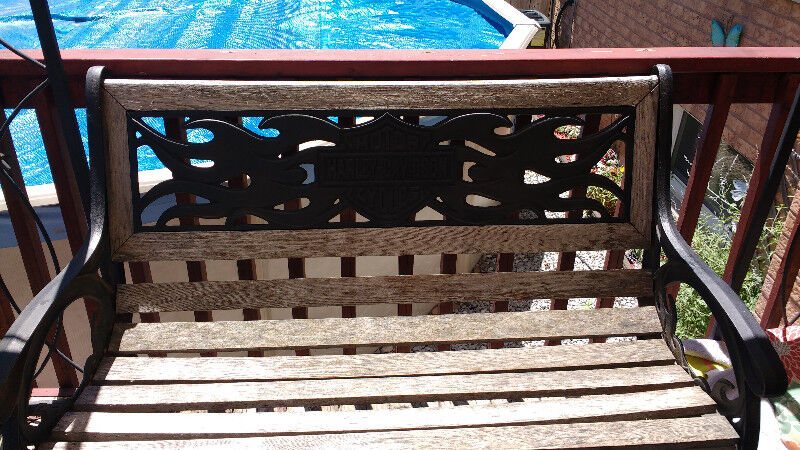 Harley Davidson Wood And Wrought Iron Outdoor Bench Patio