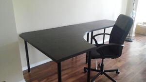 IKEA 1.Corner desk, 2.Desk, 3.Office wheel chair (ALL $80)