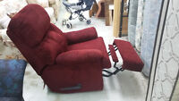 Fauteuil inclinable rouge bourgogne tres propre