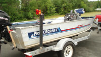17 ft bass boat, motor and trailer