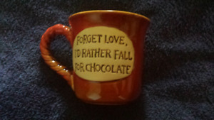 """NEW mug """"Forget love I'd rather fall for chocolate """""""
