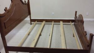 Solid wood bed frame (short king/double twin size)