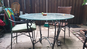 metal and glass table chairs