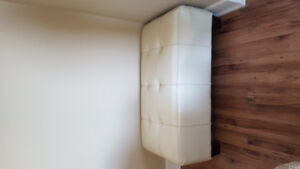 White Leather Ottoman/ Free need gone ASAP