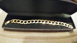 Bracelet or coupe diamant massif 10K gold wristlet diamond cut