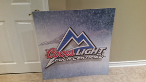 Coors Light COLD Certified Promotion Poster board Raised Logo