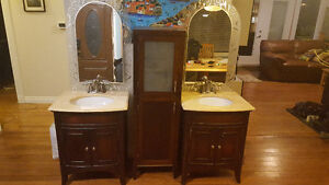 Bathroom Vanity, sinks, taps, mirrors and cabinet