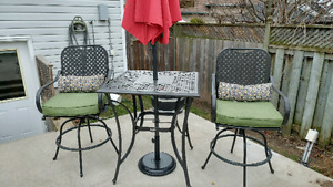 Bistro bar height patio table and chairs