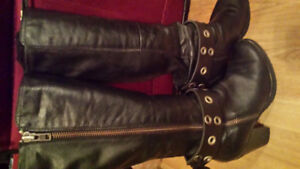 Ladies Black Leather tall boots, size 8