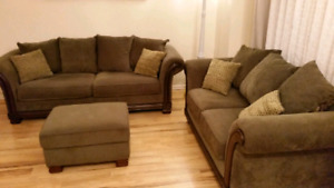Chenille and Wood Couch Set