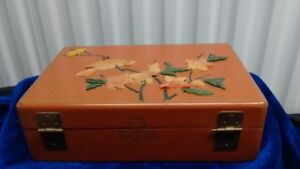 Old Chinese Lacquer Jewelry Box, Bird Flowers