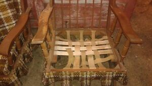 2 Retro Wooden Chairs with Cushions : 1 Rocker & 1 with Legs SET London Ontario image 4