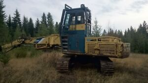 Kobelco log loader w/ Rocan Logging front, heel boom and grapple