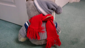 Teddy Bear - Grey with Red Scarf, with tag