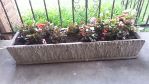"Cement Patio / Porch Planter - 46"" x 11"" x 9"" - Very Heavy"