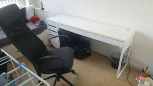 IKEA Micke Desk & Drawer Set (White)  and Marcus Chair (Grey)