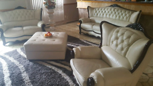 Cream leather Sofa set for sale