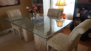 Beautiful Glass Top & Stone Look Dining Set