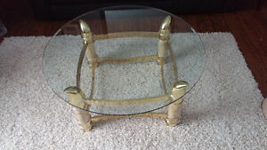 Round Glass and brass table