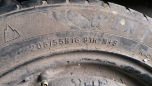 205 55 r 16 winter tires on good five bolt rims