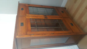 Mission, Oak, Hutch Display Cabinet