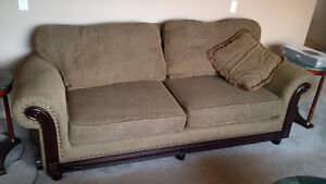 Brown fabric living room Couches x 2
