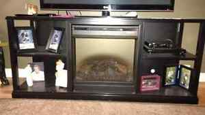 Television Stand with Electric Fire Place Insert