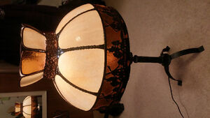 Glass Shade with Carved Metal