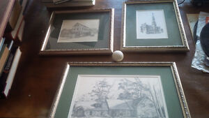 3 Matching Matted, Framed Black and White Sketches