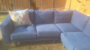 ikea 5 seater sectional plus lounger navy blue