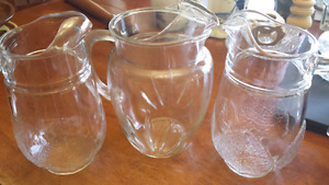 Lot of Glass Pitchers, divided crystal, deviled egg dish