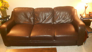 Chocolate brown couch and chair set