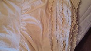 Single beige eyelet dust ruffle and pillowcase