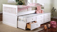 NEW CAPTAIN BED WITH TRUNDLE AND 3 DRAWERS-3 GREAT COLOURS!