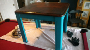 Blue and Walnut coffee end table refurbished
